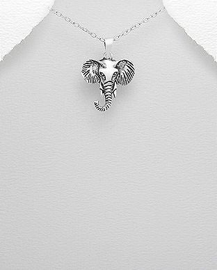 925 Sterling Silver Elephant Pendant & Chain - The Silver Vault UK