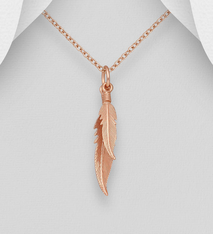 925 Sterling Silver Feather Pendant, plated with 1 Micron Pink Gold - The Silver Vault UK