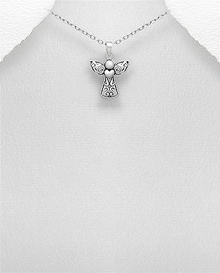 925 Sterling Silver Filigree  Angel Pendant &  Chain - The Silver Vault UK