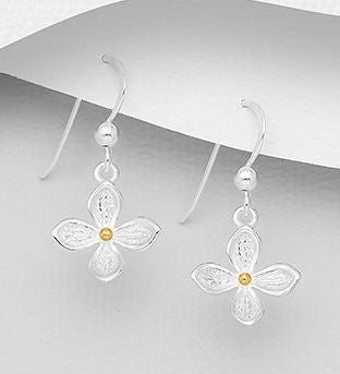 925 Sterling Silver Flower Drop Earrings, Plated with 1 Micron of 18K Yellow Gold - The Silver Vault UK
