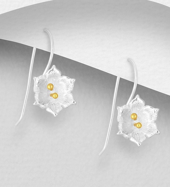 925 Sterling Silver Flower Hook Earrings, Pollen Plated with 1 Micron 14K or 18K Yellow Gold - The Silver Vault UK