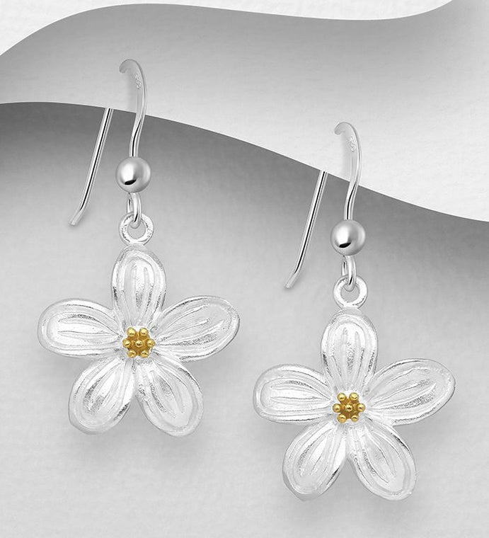 925 Sterling Silver Flower Drop Earrings, Pollen Plated with 1 Micron 18K Yellow Gold - The Silver Vault UK