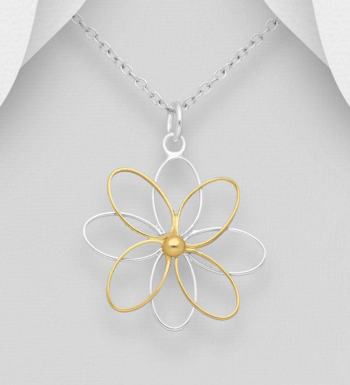 925 Sterling Silver Flower Pendant, Center Plated with 1 Micron 18K Yellow Gold - The Silver Vault UK
