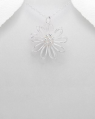 925 Sterling Silver Flower Pendant Hand Crafted - The Silver Vault UK
