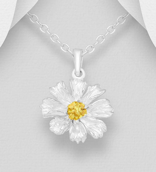 925 Sterling Silver Flower Pendant and Chain, Pollen Plated with 1 Micron 18K Yellow Gold - The Silver Vault UK