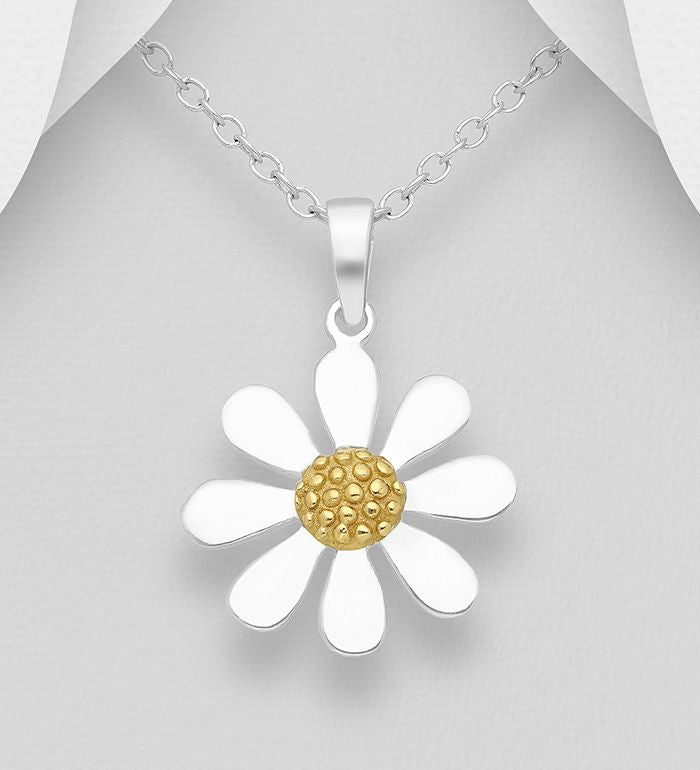 925 Sterling Silver Flower Pendant & Chain, Pollen Plated with 1 Micron  of 18K Yellow Gold - The Silver Vault UK