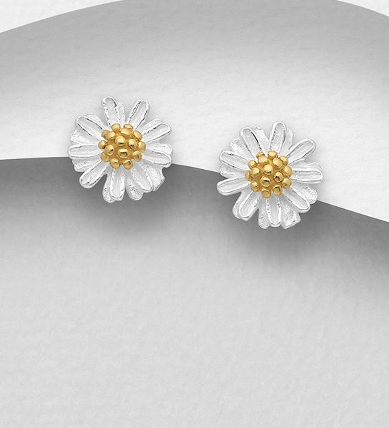 925 Sterling Silver Flower Stud Earrings, Plated with 1 Micron 18K Yellow Gold - The Silver Vault UK
