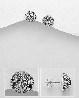 925 Sterling Silver Flower Studs Earrings Decorated With CZ Stones - The Silver Vault UK