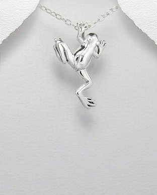 925 Sterling Silver Frog Pendant & Chain - The Silver Vault UK