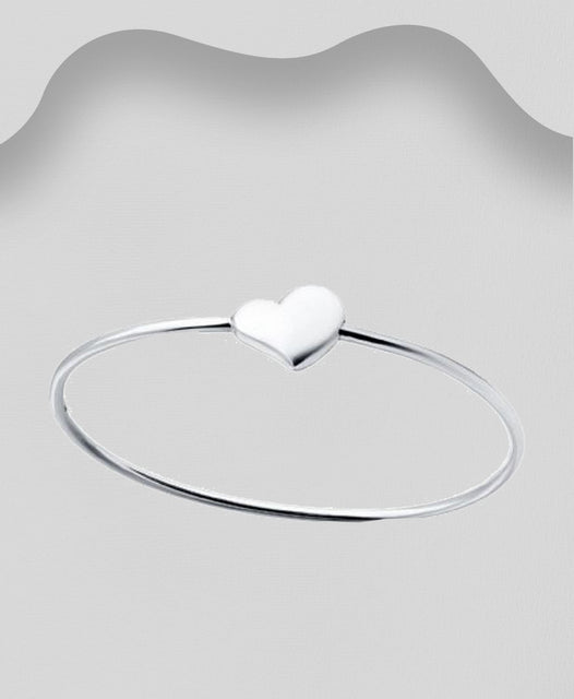 925 Sterling Silver Solid  Georg Jenson Style Heart Bangle That Opens - Valentines Gift Idea - The Silver Vault UK