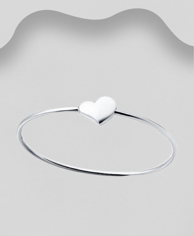 925 Sterling Silver Gerog Jenson Style Heart Bangle - The Silver Vault UK