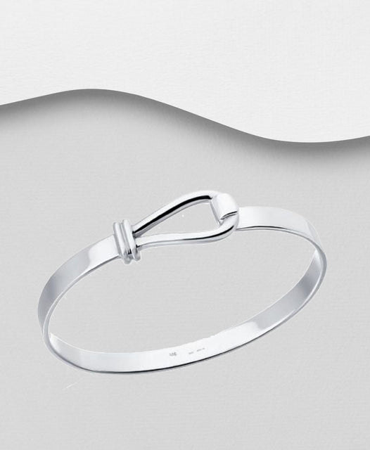 925 Sterling Silver Hand Crafted Bangle That Opens - The Silver Vault UK