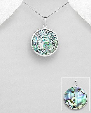 925 Sterling Silver Hand Crafted Tree of Life Pendant & Chain Decorated With Abalone Shell - The Silver Vault UK