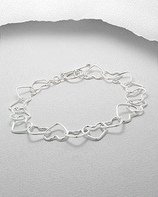 925 Sterling Silver Heart Bracelet - Valentines Gift Idea - The Silver Vault UK