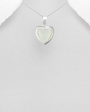 925 Sterling Silver Stone Set Heart Pendant Decorated With Mother of Pearl Shell - Valentines Gift Idea - The Silver Vault UK