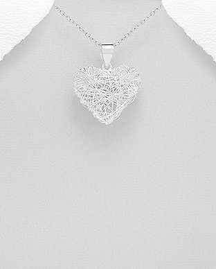 925 Sterling Silver Heart Wire Pendant - Valentines Gift Idea - The Silver Vault UK