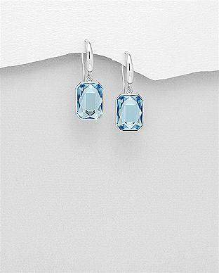 925 Sterling Silver Hook Earrings Decorated with  Authentic Aquamarine Swarovski Crystals - The Silver Vault UK