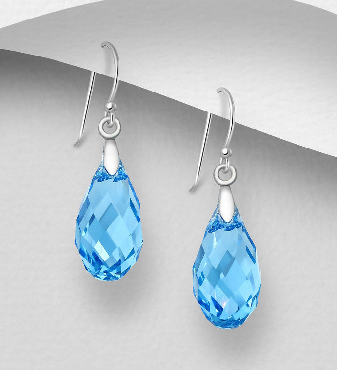 925 Sterling Silver Hook Earrings Decorated with Verifiable Authentic Swarovski Crystals - The Silver Vault UK