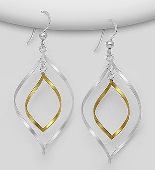 925 Sterling Silver  Drop Earrings, Plated with 1 Micron 18K Yellow Gold - The Silver Vault UK