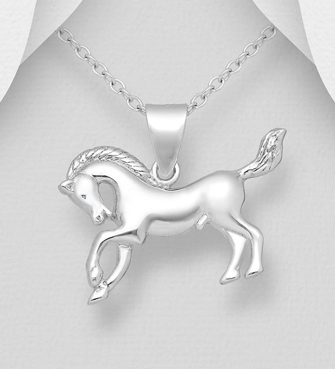 925 Sterling Silver Horse Pendant - The Silver Vault UK