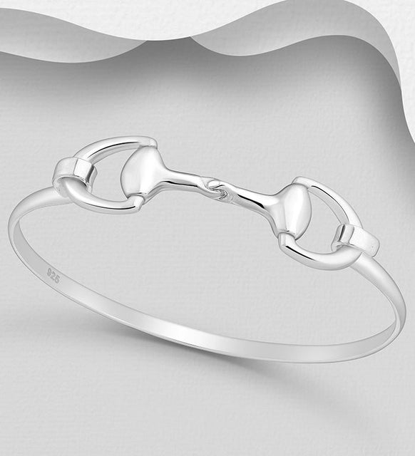 925 Sterling Silver Horse Snaffle Bangle - The Silver Vault UK