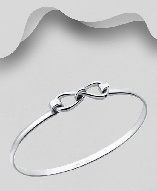 925 Sterling Silver Infinity Bangle That Opens - Valentines Gift Idea - The Silver Vault UK