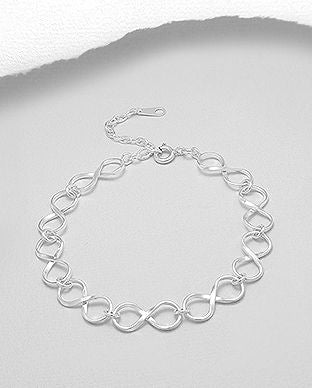 925 Sterling Silver Infinity Links Bracelet - Valentines Gift Idea - The Silver Vault UK