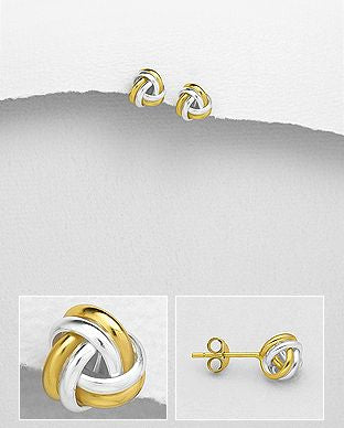 925 Sterling Silver Knot Stud Earrings, Plated with 1 Micron 18K Yellow Gold - The Silver Vault UK