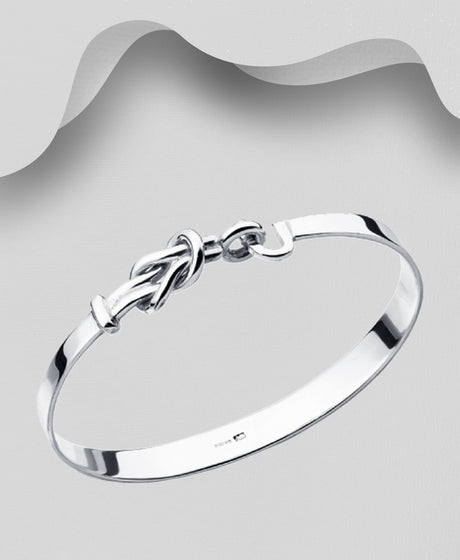 925 Sterling Silver Knott Bangle that opens