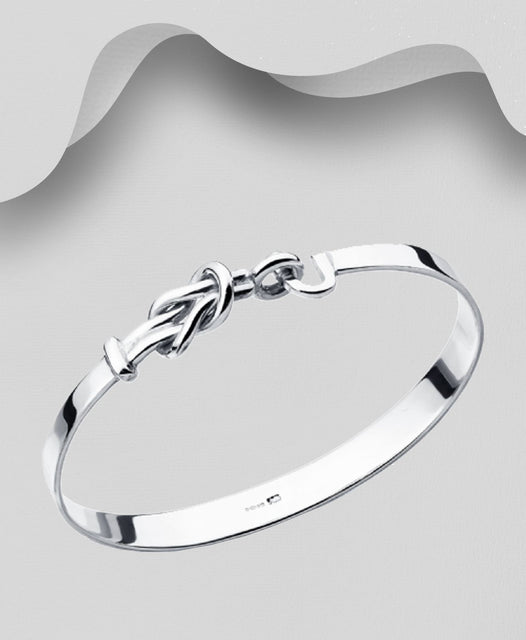 925 Sterling Silver Knott Bangle that opens - The Silver Vault UK
