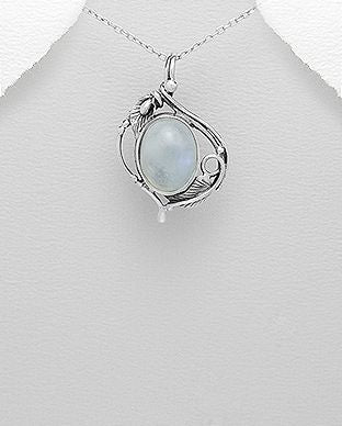 925 Sterling Silver Leaf Pendant, Decorated with Moon Stone Gemstones - The Silver Vault UK