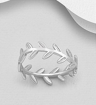 925 Sterling Silver Leaf Ring - The Silver Vault UK