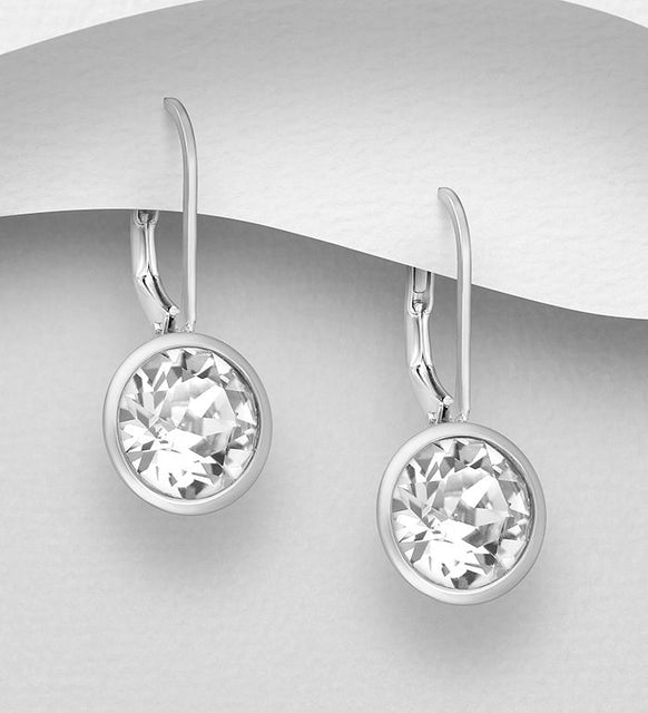 925 Sterling Silver Lever Back Earrings Decorated with  Authentic Swarovski Crystals - The Silver Vault UK