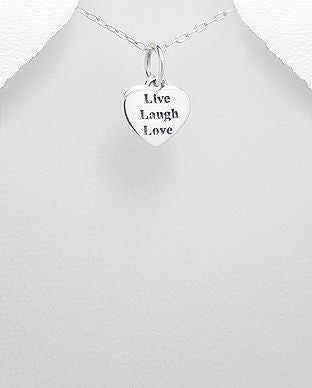 "925 Sterling Silver ""Live Laugh Love"" Pendant - Valentine Gift Idea - The Silver Vault UK"