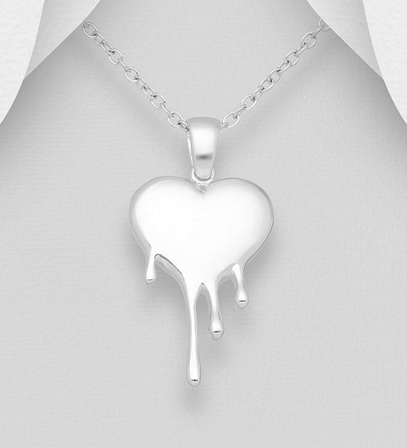 925 Sterling Silver Melted Heart Pendant - Valentines Gift Idea - The Silver Vault UK