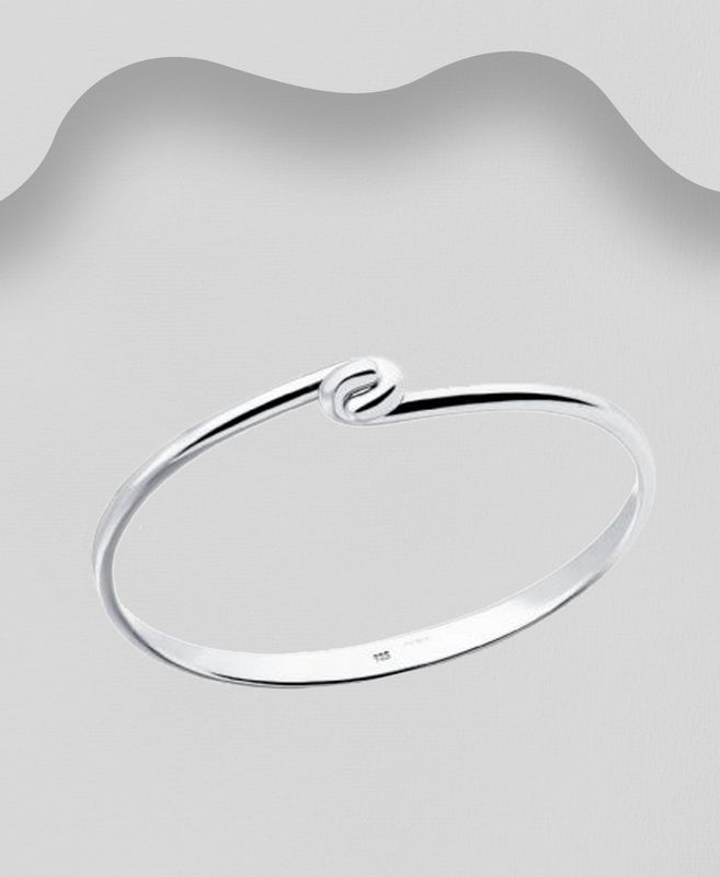 925 Sterling Silver Modern Twist Bangle - The Silver Vault UK