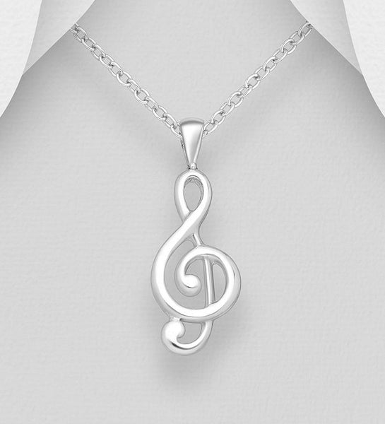 925 Sterling Silver Musical Note Pendant & Chain - The Silver Vault UK