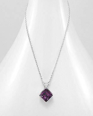 925 Sterling Silver Pendant & Chain Decorated with  Amethyst  Authentic Swarovski Crystal Stone - The Silver Vault UK