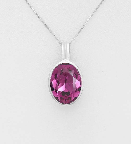 925 Sterling Silver Pendant Decorated with Verifiable Authentic Swarovski Crystal - The Silver Vault UK