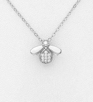925 Sterling Silver Pendant Featuring Bee Decorated with CZ Simulated Diamond Stones - The Silver Vault UK