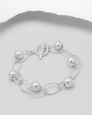 925 Sterling Silver Open Link Bracelet With Ball Beads - The Silver Vault UK