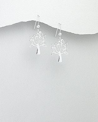 925 Sterling Silver Open Work Tree Of Life Earrings - The Silver Vault UK