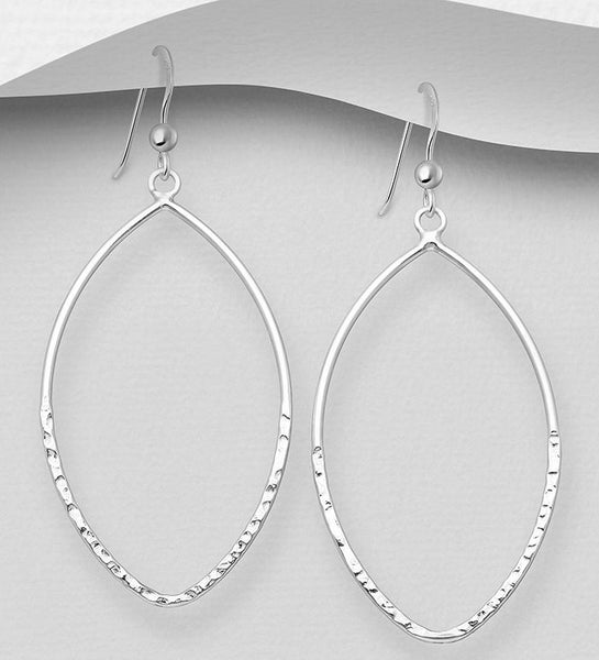 925 Sterling Silver Oval Hammered Hook Earrings - The Silver Vault UK