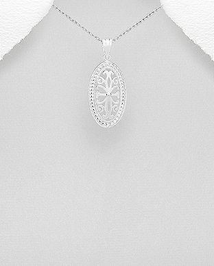 925 Sterling Silver Oval Open Work Grill Pendant - The Silver Vault UK