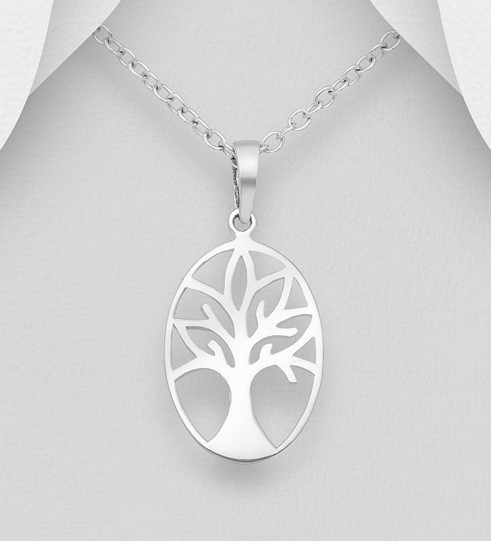 925 Sterling Silver Oval Open Work Tree Of Life Pendant & Chain - The Silver Vault UK