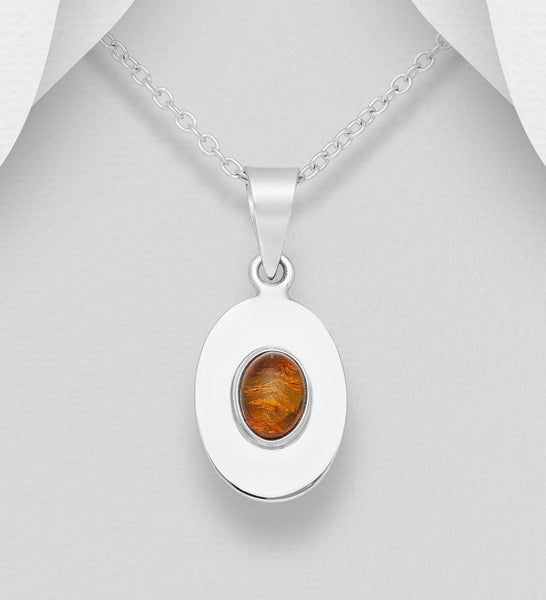 925 Sterling Silver Stone Set Oval Pendant, Decorated with Baltic Amber - The Silver Vault UK