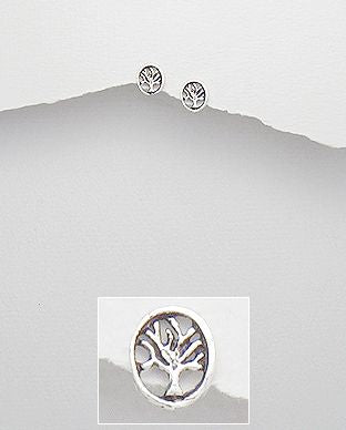925 Sterling Silver Oval Tree Of Life Earrings - The Silver Vault UK