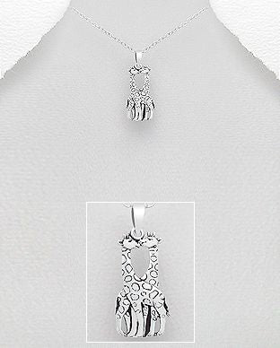 925 Sterling Silver Oxidized Giraffe Pendant & Chain - The Silver Vault UK
