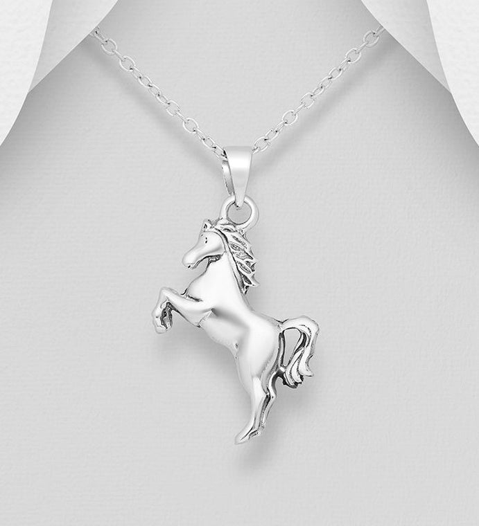925 Sterling Silver Oxidized Horse Pendant - The Silver Vault UK