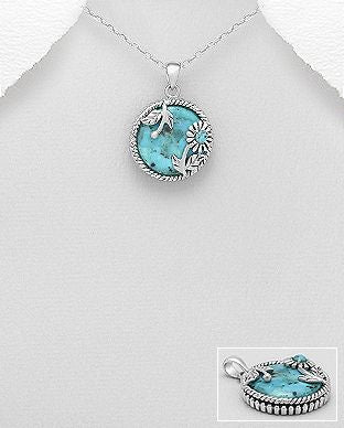 925 Sterling Silver Stone Set Oxidized Pendant Featuring Flower Decorated With Reconstructed Turquoise - The Silver Vault UK